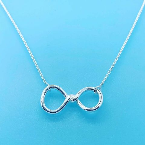 Genuine 925 Sterling Silver Infinity Sign Figure Eight Pendant On 17 Inch Chain